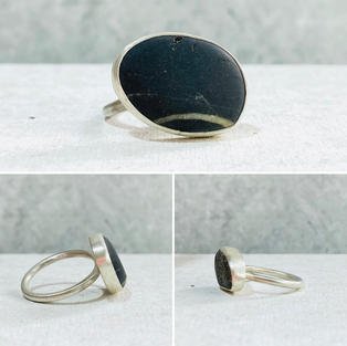PEBBLE RING WITH LITTLE WHITE LINE £55 + p&p