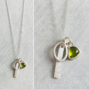 SOLD - PERIDOT CLUSTER NECKLACE £100 + p&p