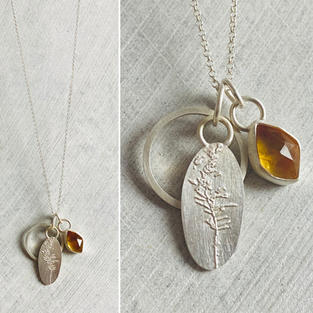 SOLD - CITRINE AND GRASSES CLUSTER NECKLACE £100 +p&p