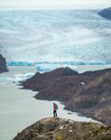 Andrea in front of Grey Glacier in Torre