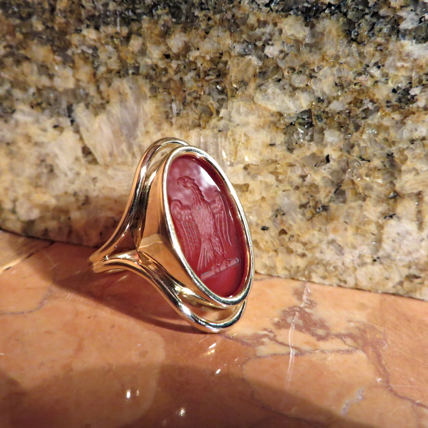 Bague intaille cornaline