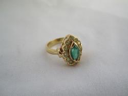 Bague or, émeraude & diamants jaunes
