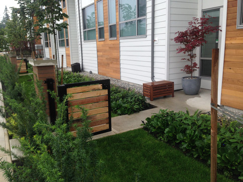 Front yard planting and fence design at the Grandview townhome. Client: Adera Developments Part of the landscape design as Project Manager for Jonathan Losee Ltd.