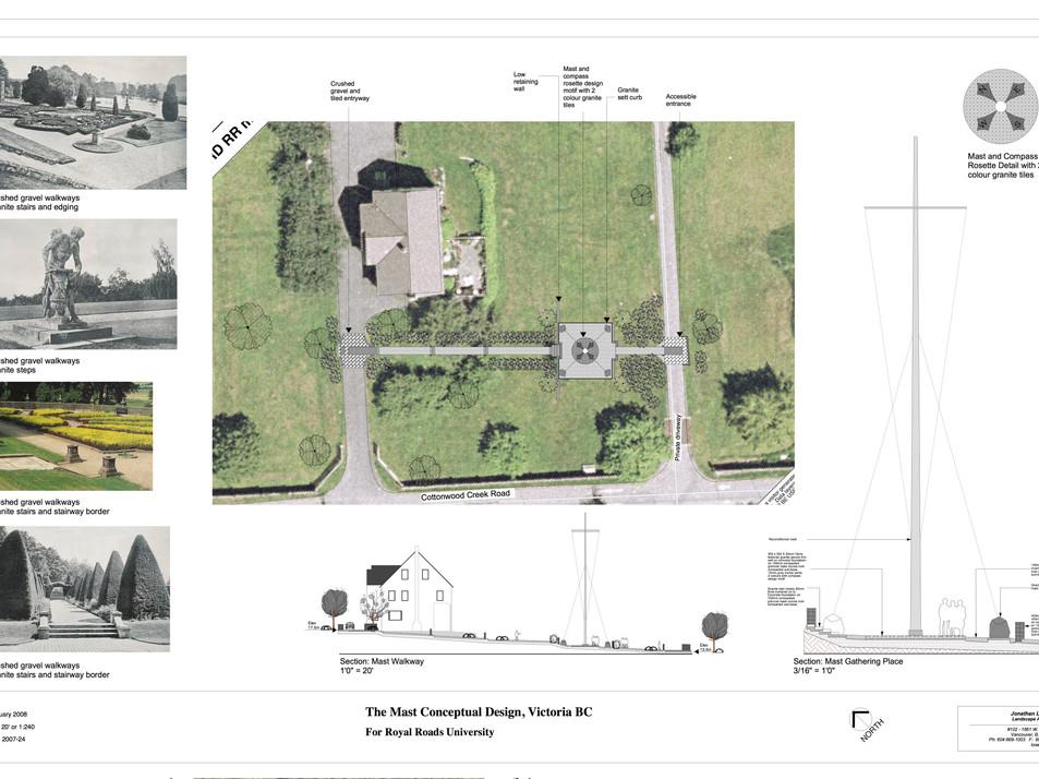 Mast restoration landscape design Client: Royal Roads University. Collaboration with Jon Losee on the mast restoration landscape design as Landscape Designer for Jonathan Losee Ltd.