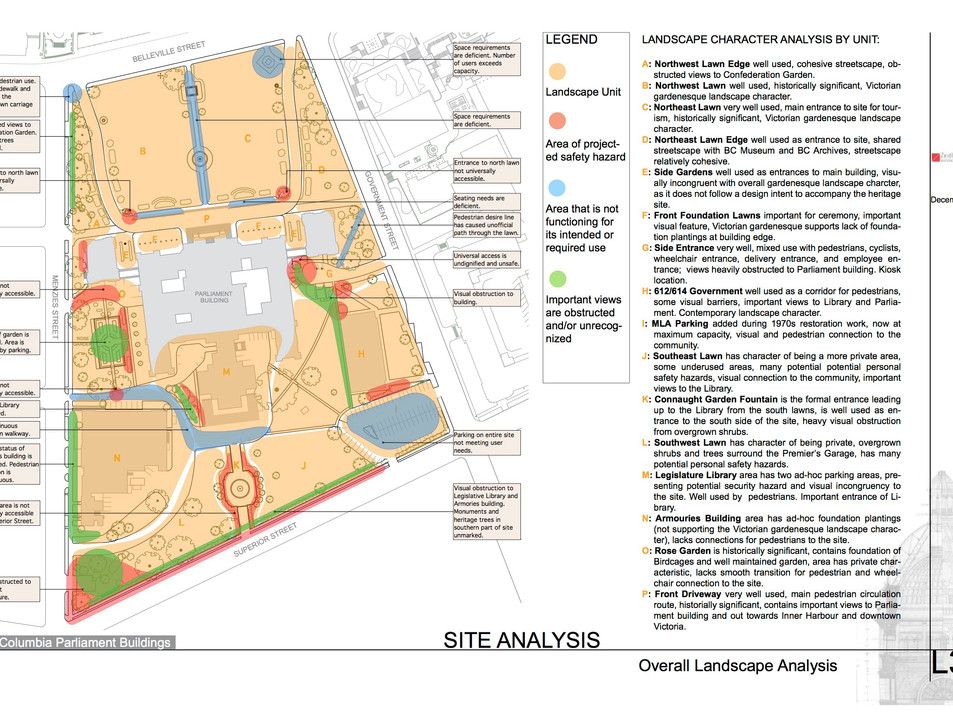 Site Analysisof the BC Parliament Building. Client: BC Government Part of a landscape heritage assessment report as Landscape Designer for Zeidler Partnership Architects.