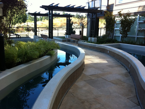 Water feature and amenity design at the Ultima UBC townhome. Client: Adera Developments Collaboration with Jon Losee on the overall landscape design, as Project Manager for Jonathan Losee Ltd.