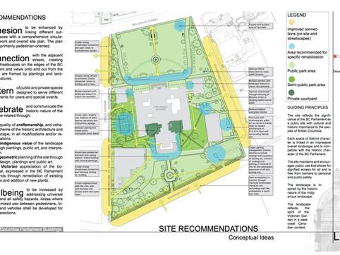 Site Recommendationsfor landscape restoration of the BC Parliament Building. Client: BC Government Part of a landscape heritage assessment report as Landscape Designer for Zeidler Partnership Architects.