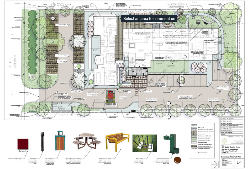 Guide dog facility site design. Client: BC Guide Dog Services. Part of the landscape design for Building Permit application, as Project Manager for Jonathan Losee Ltd.