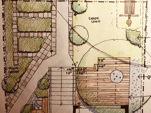 A sketch for a front yard play area and urban farm.