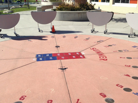 Norma Rose Point Elementary sundial design Client: Vancouver School District Part of an overall site design as Project Manager for Jonathan Losee Ltd, Sundial engineering by Brian Albinson.
