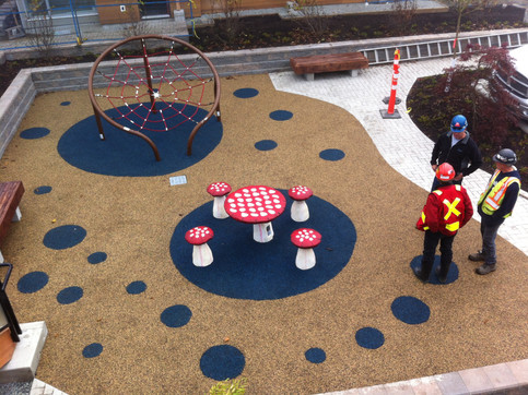 Playground design at Breeze townhome. Client: Adera Developments. Part of the landscape design as Project Manager for Jonathan Losee Ltd.