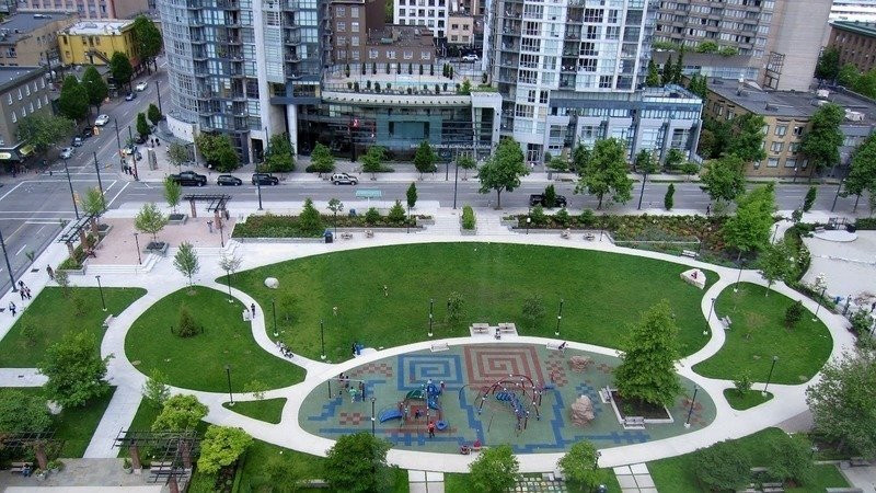 Collaborative design at the Emery Barnes Park Phase 2. Client: Vancouver Parks Board. Part of an overall site design as Project Manager for Jonathan Losee Ltd.