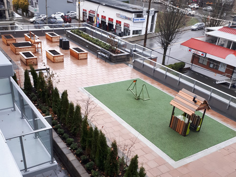 Playground and community garden amenity design at Carvarvon Street rental apartments. Client: South Street Development Part of the landscape design as Project Manager for Jonathan Losee Ltd.