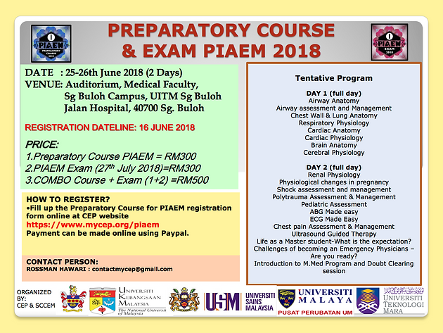 PIAEM PREPARATORY COURSE & EXAM 2018