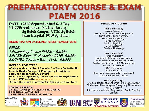 PREPARATORY COURSE & EXAM PIAEM 2016 REGISTRATION IS OPEN