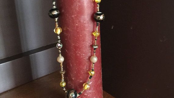 Beaded necklace with pearls, seeds beads and Venetian glass