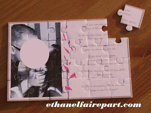 Faire-part mariage sur mesure découpé en puzzle rose poudré, taupe et fuchsia.