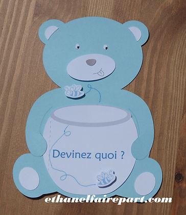Faire-part naissance ou baptême Pot de miel/ carte en forme d'ourson portant un pot de miel, bleu ciel et blanc.