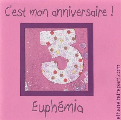 Carte d'invitation anniversaire 3 ans Euphémia: rose poudré, prune et pois.