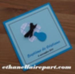 Faire-part naissance ou baptême Tétine : bleu turquoise, bleu ciel et ruban de satin noir.
