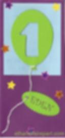 Carte d'invitation anniversaire 1an Eden: ballon vert, bleu ciel et prune.