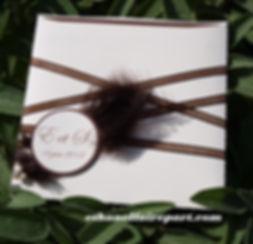 Faire-part mariage plume ivoire et chocolat