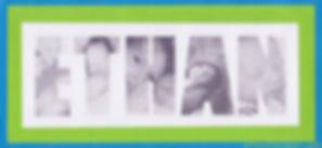 Faire-part naissance ou baptême Ethan: photos en forme de lettre sur carte bleu turquoise, verte et blanche.
