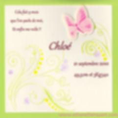 Faire-part naissance sur mesure Papillon: papillon rose sur carte ivoire et vert anis.