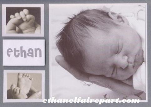 Faire-part naissance sur mesure Padraeg avec photo: gris et blanc.