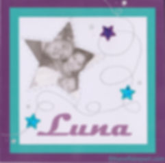Faire-part naissance ou baptême Galaxie avec photo: étoiles brillantes sur carte blanche , prune et bleu turquoise.
