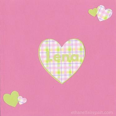 Faire-part naissance ou baptême Petits cœurs : coeur decoupé dans une carte rose, vert anis et carreaux.