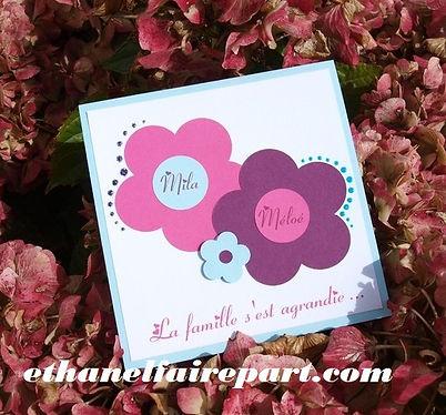 Faire-part naissance ou Baptême Fleurs jumelles: pour des jumeaux carte rose fuchsia violet et bleu ciel.