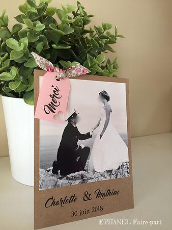 remerciement mariage champêtre