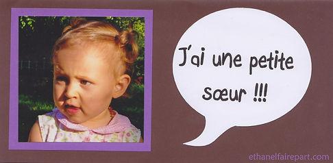Faire-part naissance ou baptême Léna: annonce naissance par grand frère ou grande soeur avec photo, chocolat et violet.