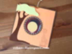 Faire-part naissance ou baptême Savane: pochette orange, marron et vert anis.