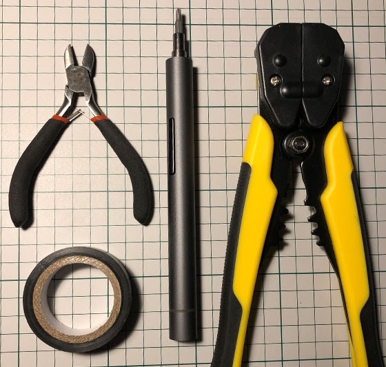 Wire Cutter, Insulation Tape, Screwdriver, Crimping Tool