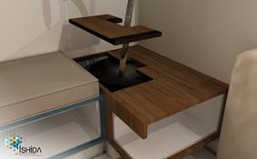 3D demonstrando encaixes para planta/vaso e acesso a elétrica (tomada no nicho)