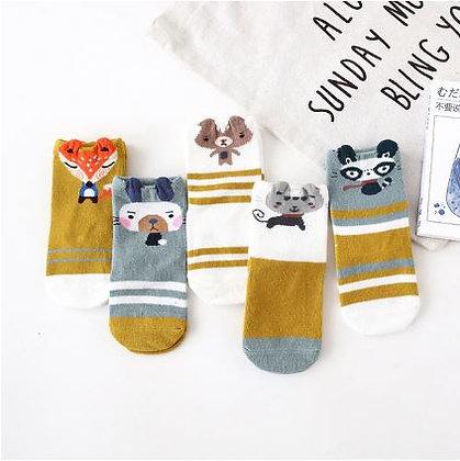 Animal Socks Mustard x5 pairs