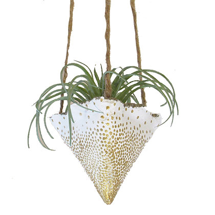Hanging Planter - White/Gold Spots