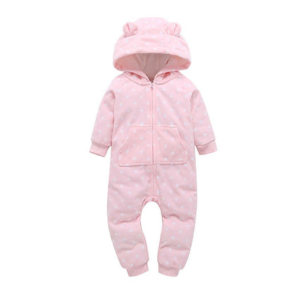 Pink Spot Hooded Jumpsuit