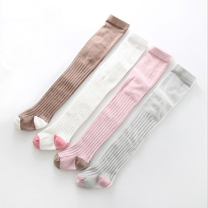 Stockings with coloured feet - 6 month - 2 years