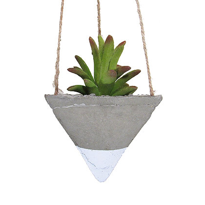 Hanging Planter - Concrete/White