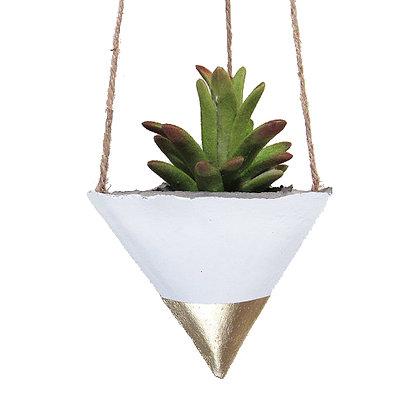 Hanging Planter - White/Gold