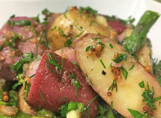 Warm Potato Salad with Mustard Vinaigrette and Asparagus