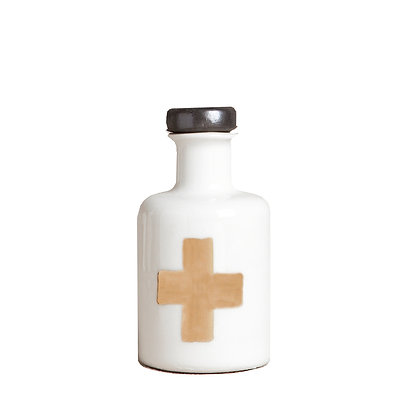 Apothecary Bottle with Gold Cross