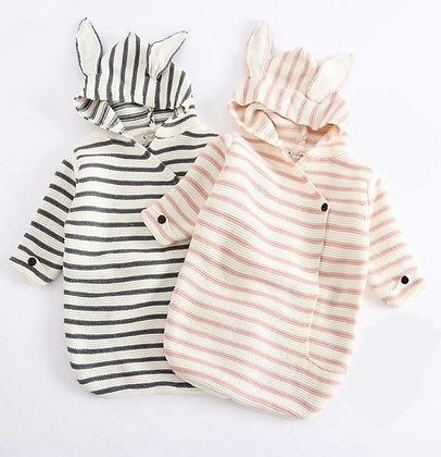 Stripe Bunny Swaddle Blanket