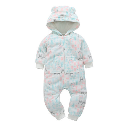 Pink/Blue/Gray Print Hooded Jumpsuit