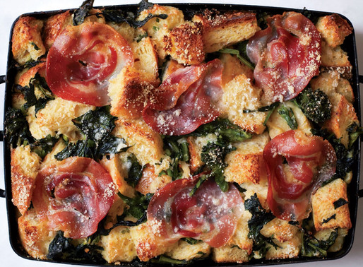 Parmesan Bread Pudding with Broccoli and Pancetta