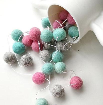 Decorative Macaron Wool Balls - Pink/Mint/Gray