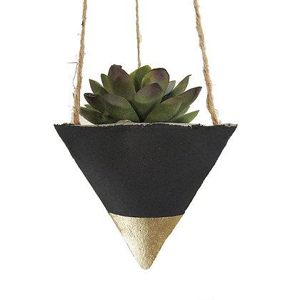 Hanging Planter - Black/Gold
